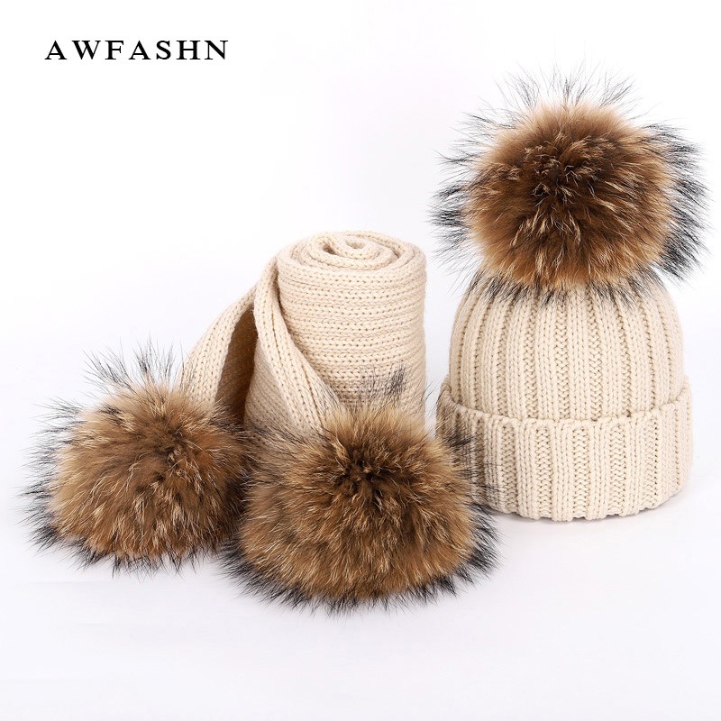 New Winter Women's Knitted Cotton Hats Warm Raccoon Fur Pom-pom Children's Knitted Beanie Ski Hat Scarf Parent-child Caps Bonnet
