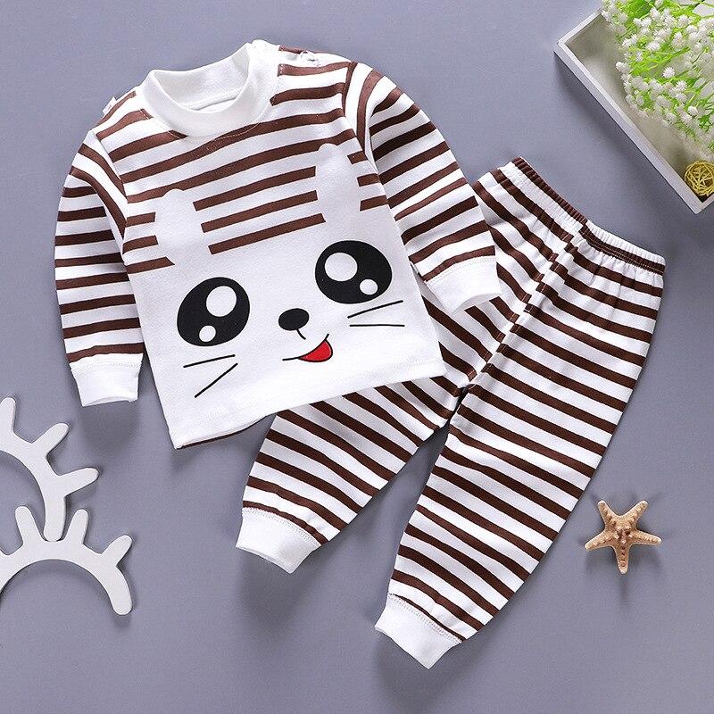 2020 New Baby Kids Pajamas Sets Cotton Long Sleeved Tshirt+pant Cartoon Girl Clothing Autumn 2pcs Sleepwear Suit Pyjama Trousers 3