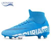 Bonjean ao ar livre dos homens meninos sapatos de futebol tf/fg botas de futebol tornozelo alto crianças chuteiras treinamento esporte tênis tamanho 35 44|Sapatos de futebol| |  -