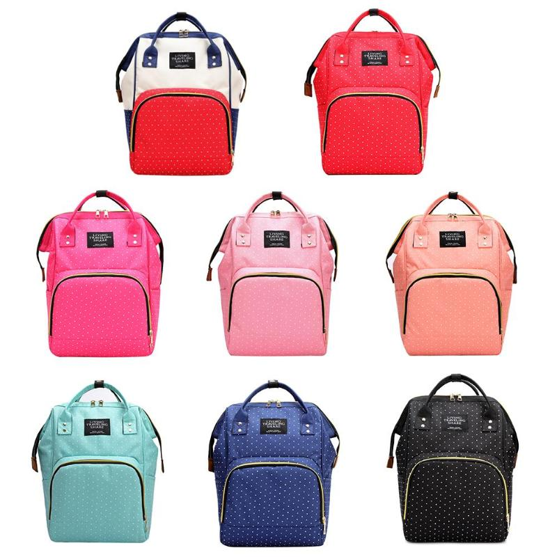 Fashion Baby Diaper Bag Mummy Backpack Maternity Nappy Bag Dot Large Capacity Travel Women Backpack Nursing Bag For Baby Care