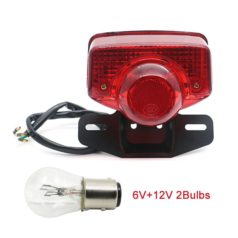 Taillight Tail Light Stop Brake Lamp W  Bulb 6V 12V For Honda CT70 CT90 CT125 XL70 CL70 CL90 Trail 70 Moped SL70 S90 Scooter