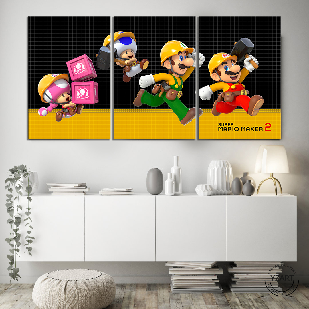 SUPER MARIO MAKER 2 video game poster paintings mario games art HD wall picture canvas painting for bedroom wall decor 4