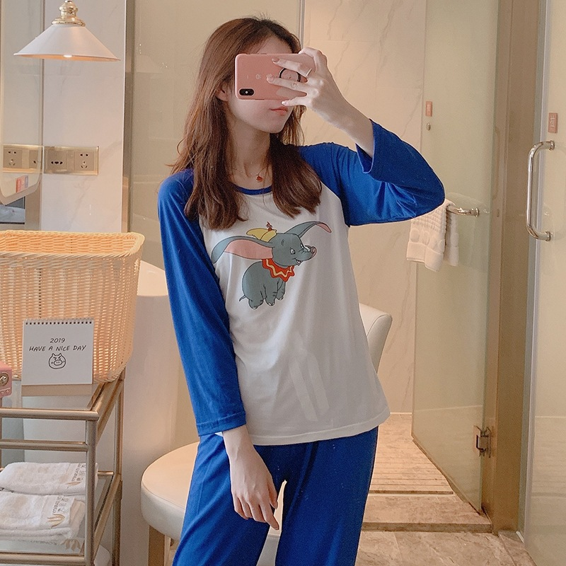 2020 Spring And Autumn Korean-style Pajamas Women's Qmilch Cartoon Blue Baby Elephant Casual Tracksuit Simple Long-sleeve Suit