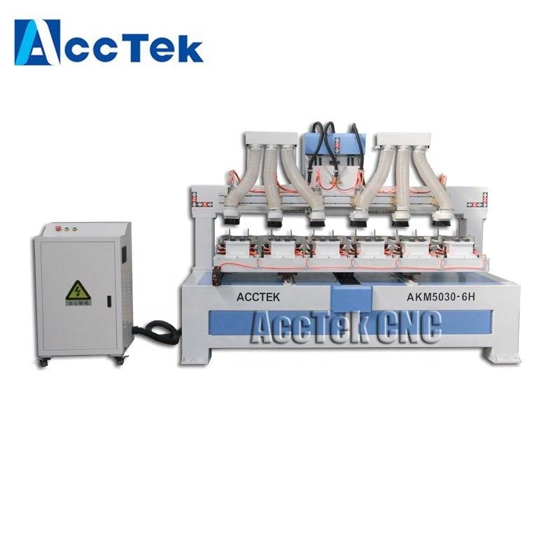 AccTek New Machine AKM5030-6H Multi Head Cnc Router Machine For Tennis Racket Machine
