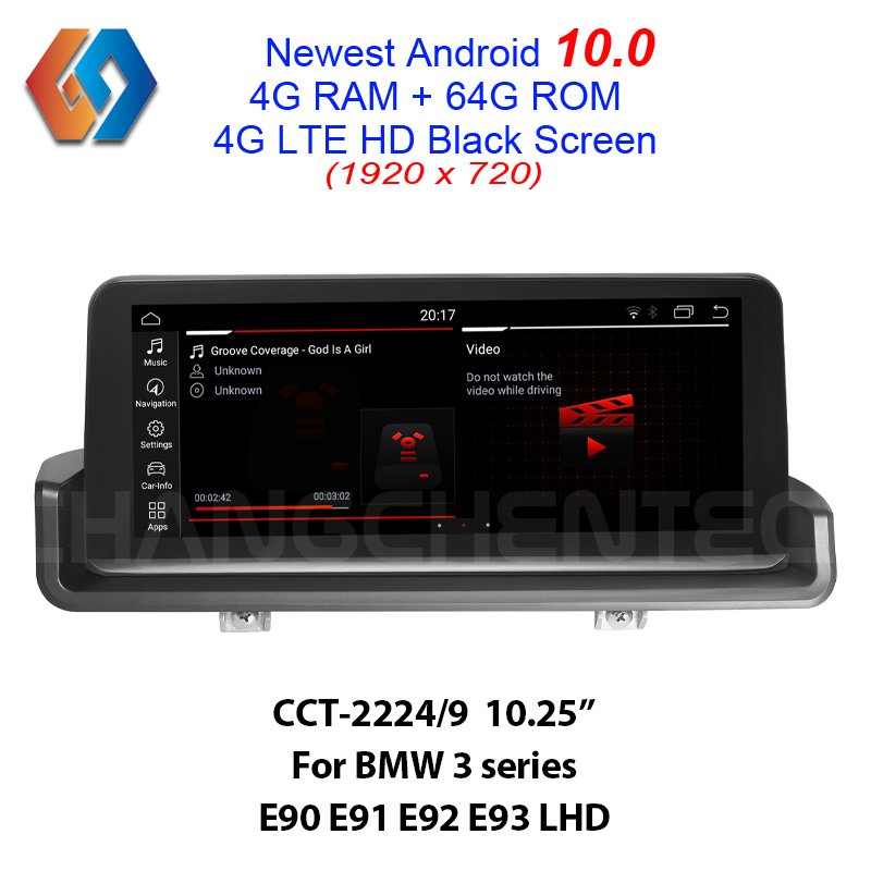 LHD E90 E91 E92 E93 Android 10.0 GPS Navigation Car Multimedia Radio with 64G 1920x720 HD Black Screen Built-in CarPlay BT WiFi image