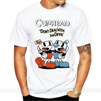 male brand teeshirt men summer cotton t shirt Cuphead Video Game Cartoon Mena Black T-shirt 100% Cotton Tee Gift New From US image