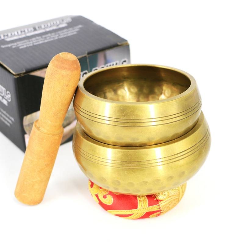 Nepal  Yoga Bowl With Mallet Handmade Tibetan Singing Bowl Set Decorative-wall-dishes Resonance Healing Meditation