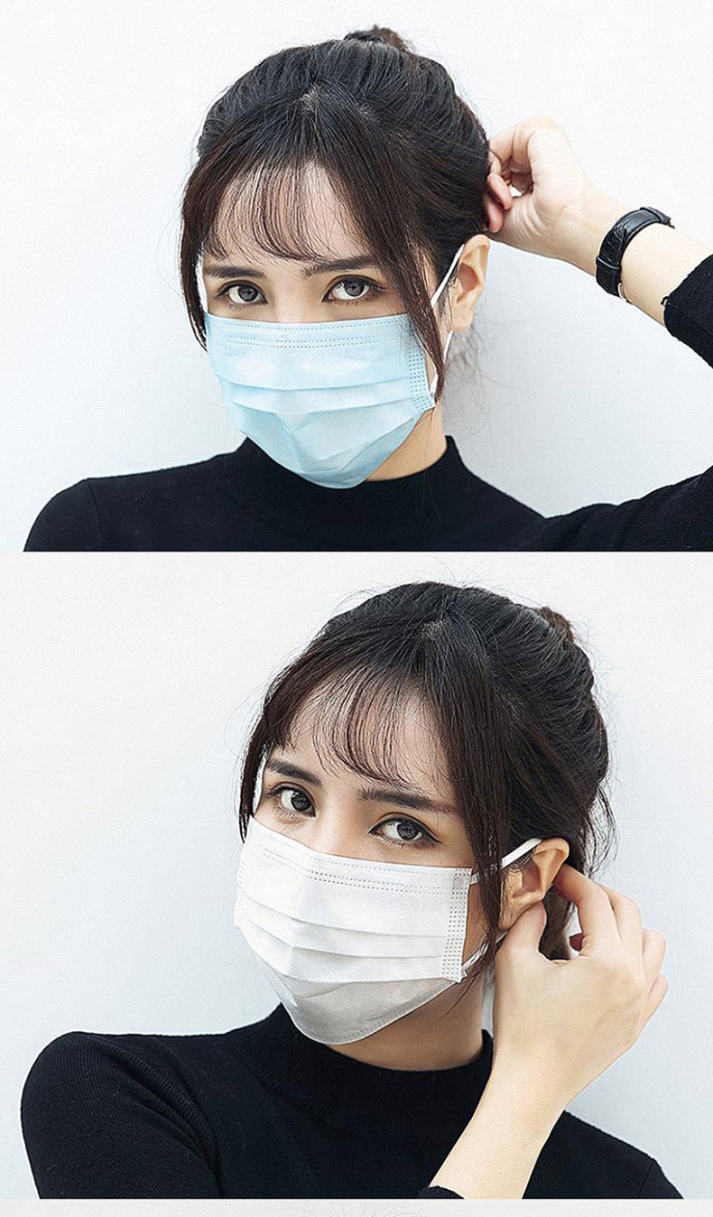 50Pcs/100pcs Mask Disposable Nonwove 3 Layer Ply Filter Mask mouth Face mask filter safe Breathable dustproof Protective masks 21