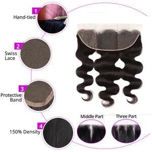Image 5 - מלזי גוף גל חבילות עם פרונטאלית 100% רמי שיער טבעי 3/4 חבילות עם פרונטאלית מתגעגע קארה 13X4 חזיתי תחרה עם חבילות