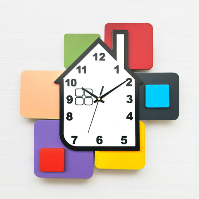 Creative Wood Wall Clock Silent Nordic Simple Art Living Room Wall Clock Zegar Scienny Drewniany Home Decor Wall Watch MM60WC
