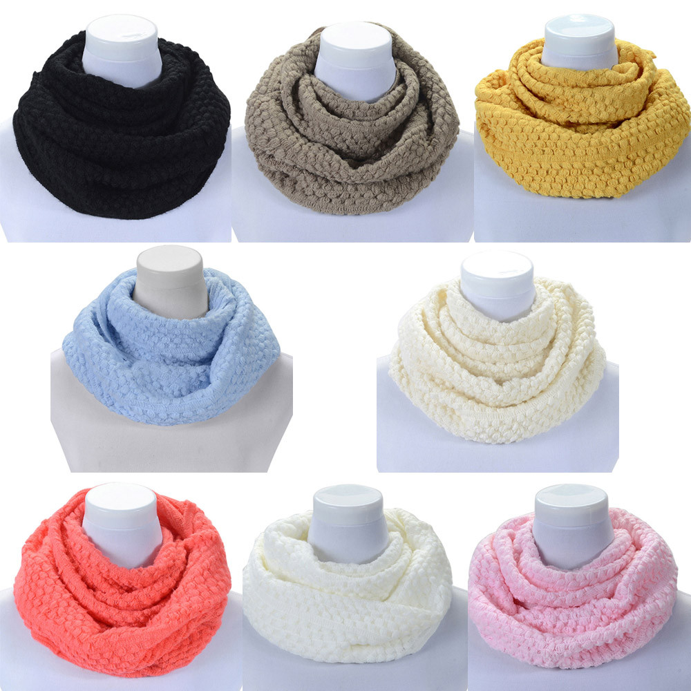 TOSKATOK Kids Girls Winter Rib Seed Stitch Thermal Warm Cosy Fleece Lined Neck Warmer Snood Scarf Scarves