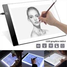 Almohadilla de luz LED ultradelgada A4 A5 con alimentación USB, caja de luz para artista, tabla de trazado, almohadilla de dibujo, herramientas de bordado de pintura de diamante