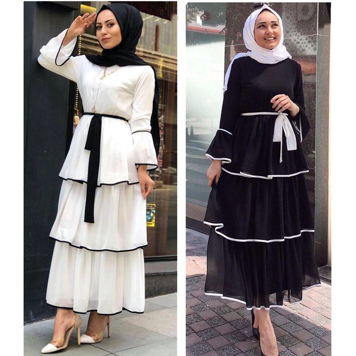 Abaya Dubai Turkey Muslim Dress Kaftan Caftan Chiffon Islamic Clothing For Women Musulmane Ramadan Layered Round Neck Robe