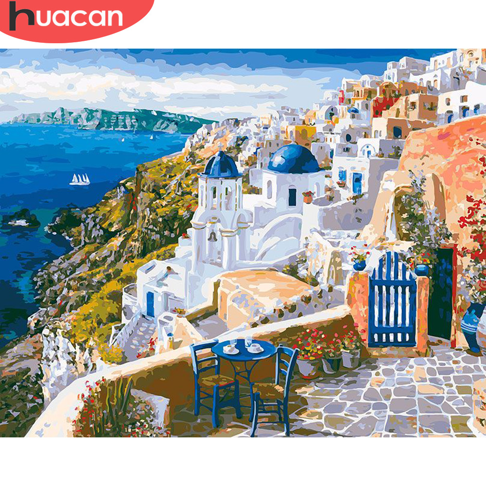 HUACAN Pictures By Numbers City Landscape HandPainted Kits Drawing Canvas DIY Oil Painting Scenery Home Decor Gift