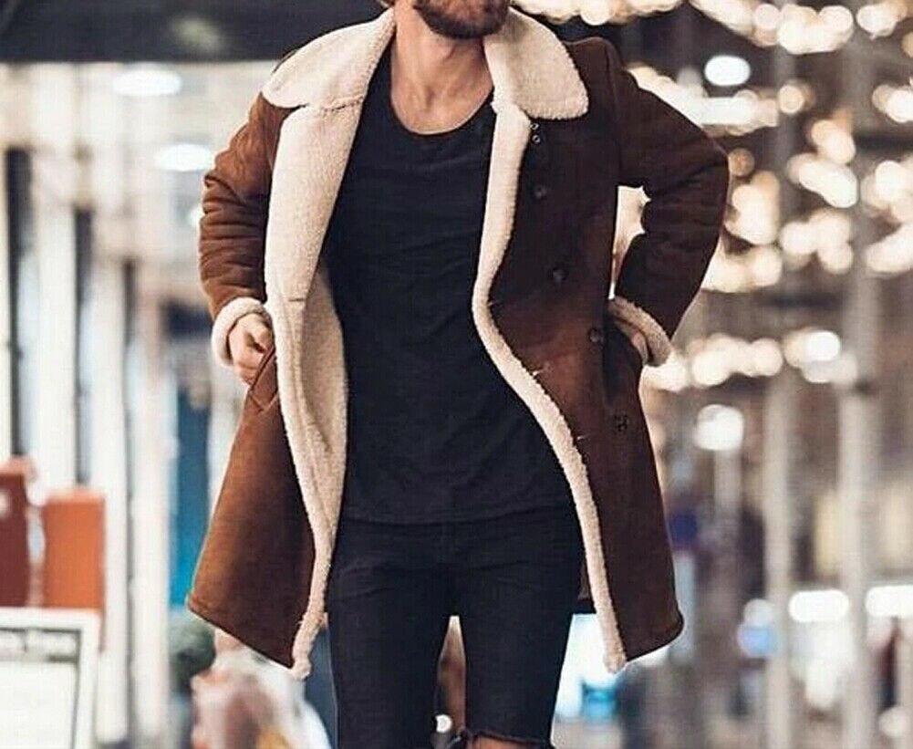 H635d8c9a85a34e27a0c3623ce39645412 Men's Winter Warm Trench Windproof Fur Fleece Long Coat Overcoat Lapel Warm Fluffy Jacket Buttons Outerwear Plus Size Coat