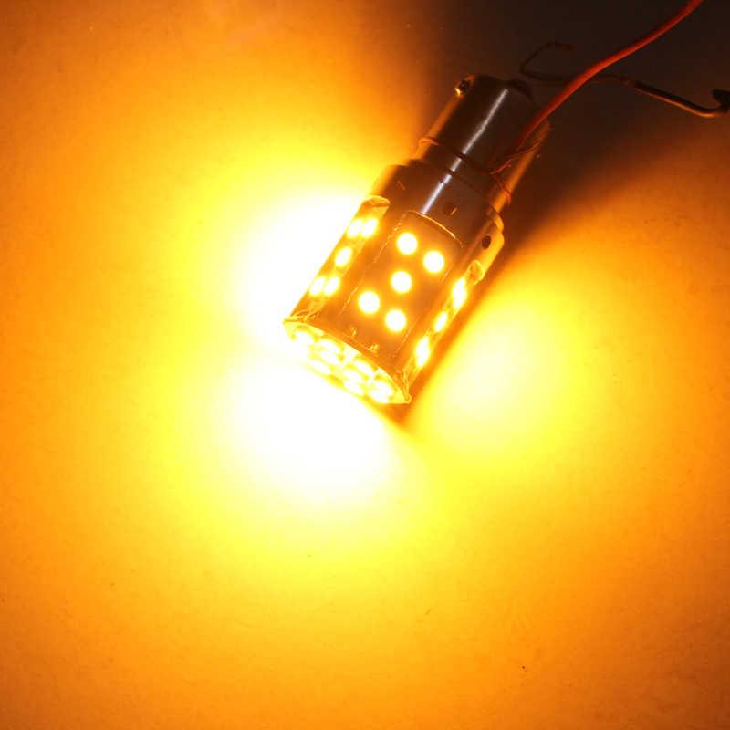 1 sztuk 1156 LED bez żarówki Hyper Flash PY21W BAU15S światło kierunkowskazów Canbus bez błędu żółty/bursztynowy 3030 35SMD 2100 lm oceniane