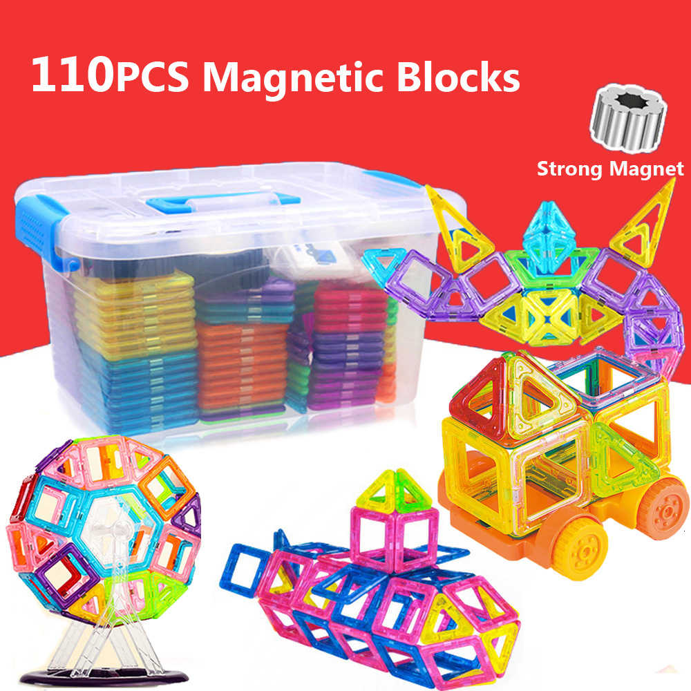 110pcs DIY Magnetic Designer Construction Set Magnetic Building Blocks Modeling Building Toys For Children Gifts