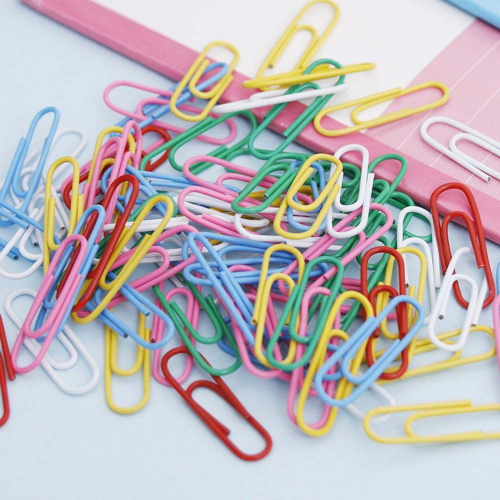 100 Pcs/pack Paper Clips Staple Files Parentheses Multi 0.8 Cm*2.8 Cm Stained Clip School Office Supply