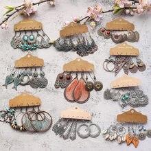 Vintage 2020 metallo ciondola orecchini a goccia imposta fasci per le donne vari etnici misti boho appesi orecchini set accessori gioielli dropshipping all'ingrosso