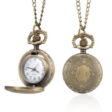 Men Women Pocket Watch Vintage Shield Carved Case with Chain LL@17