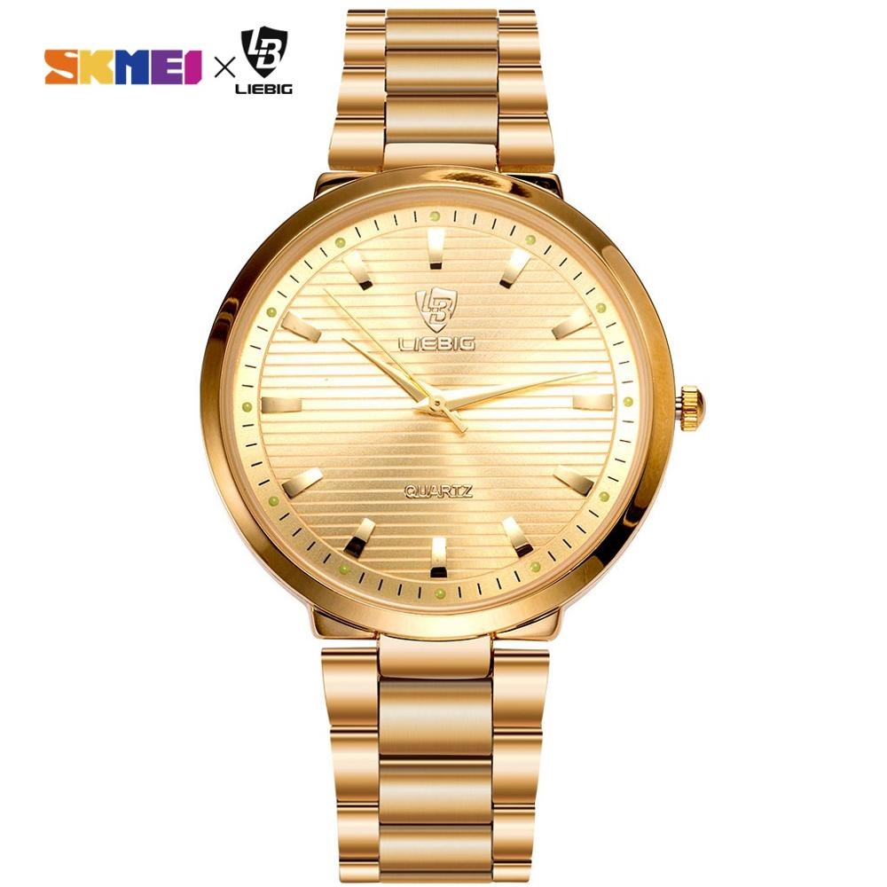 2020 Luxury Golden Quartz Watch Top Brand Steel Bracelet Wrist Watches For Men Women Female Male relogio masculino Clock L1012 1