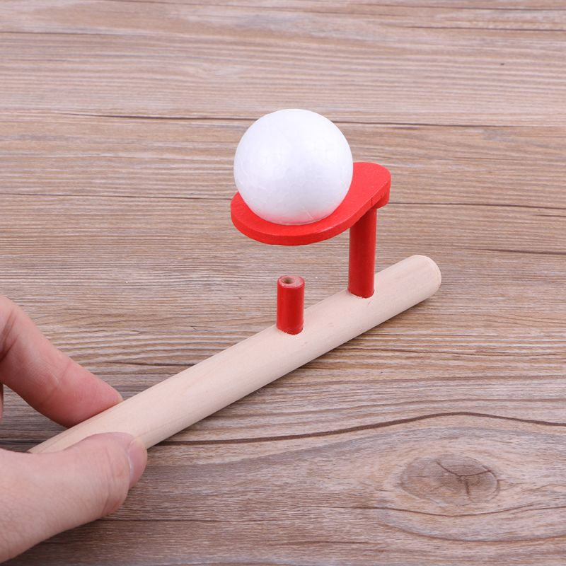 Foam Ball Floating Game Blowing Air Toys Wooden Handle Whistle Children Educational Puzzle Toy