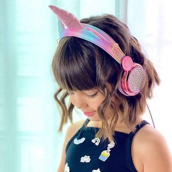 Cartoon Unicorn Wired Headphone Girls Daughter Music Stereo Earphone Computer Phone Headset Kids Gift Cute Unicorn With Mic 6