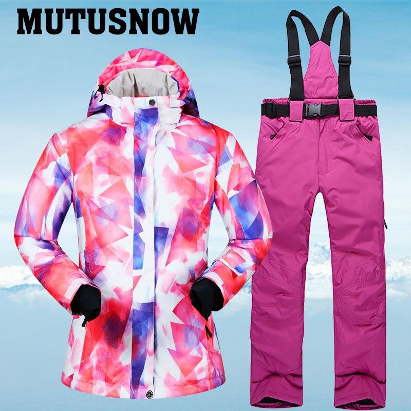Combinaison de Ski d'hiver femmes marques veste et pantalon de Ski de haute qualité pour les femmes