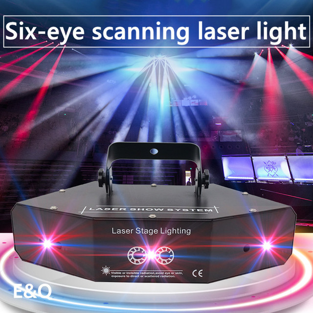 6 Lens RGB Laser Lines Beam Scans With Patterns DMX DJ Dance Bar Home Party Disco Effect Light System Show Laser Stage Lighting