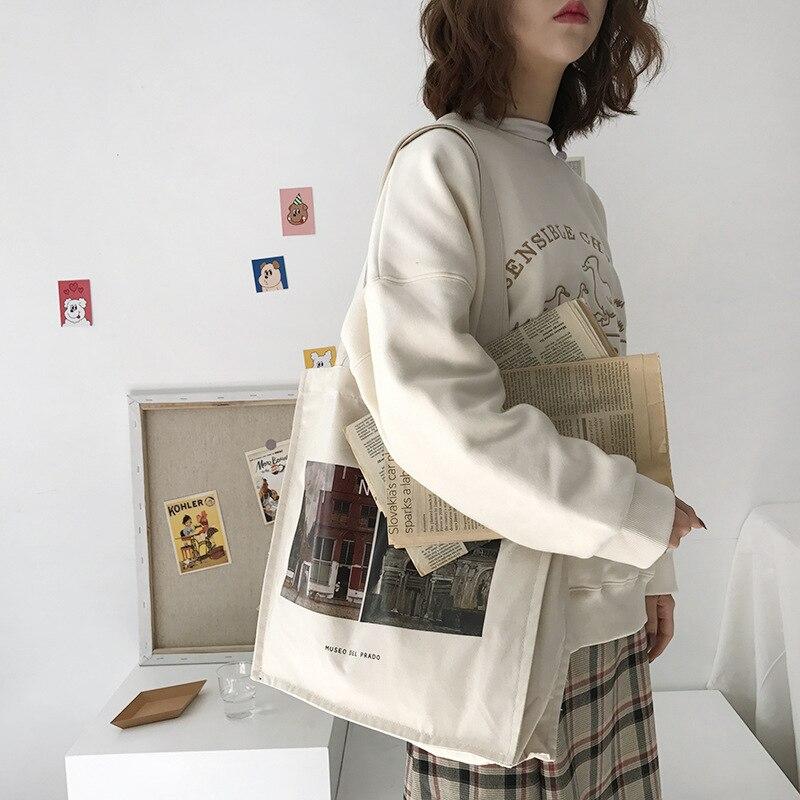 Женская Холщовая Сумка для покупок с изображением музея Prado, Женская хлопковая тканевая сумка через плечо, Женская эко-сумка, многоразовая с...