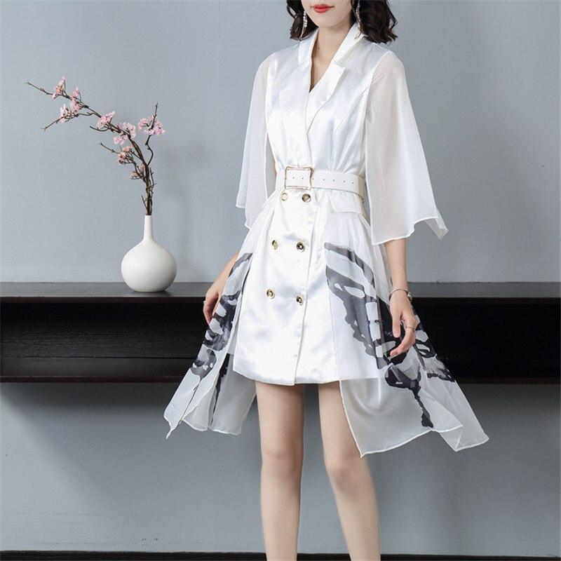 Подиум 2019 Осень Зима Новая мода Белое Женское платье зубчатый двубортный жилет сшивание мини платье Офисная Леди - 3