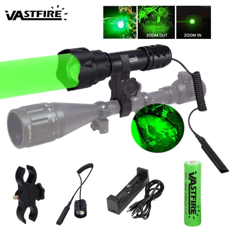 UF-T20 Flashlight Linterna LED Torch Light XPE R5 Tactical Aluminum Hunting Flash Light Lamp+18650+Charger+Rifle Gun Mount