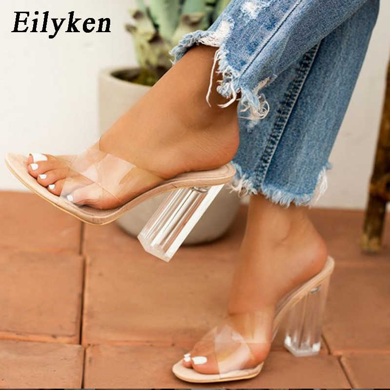 Eilyken 2020 New Women Crystal Perspex Mules Heels High Slippers Sexy PVC Transparent Open toe Women Slides shoes Size 41 42