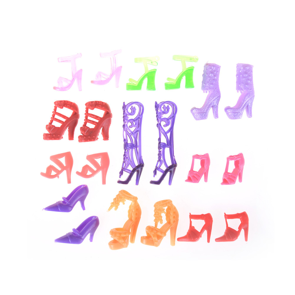 10 Pairs Fashion For  Doll Accessories Clothes Dress Prop Crystal Assorted Fashion Colorful Sandals Copy High Heels Shoes-1