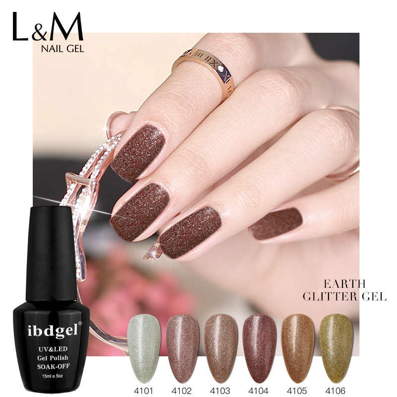 3 Pcs Ibdgel Bumi Glitter Gel Polandia 2 Langkah UV LED Nail Polish GEL Varnish 15 Ml Manicure Semi Permanen nail Art Tidak Perlu Top