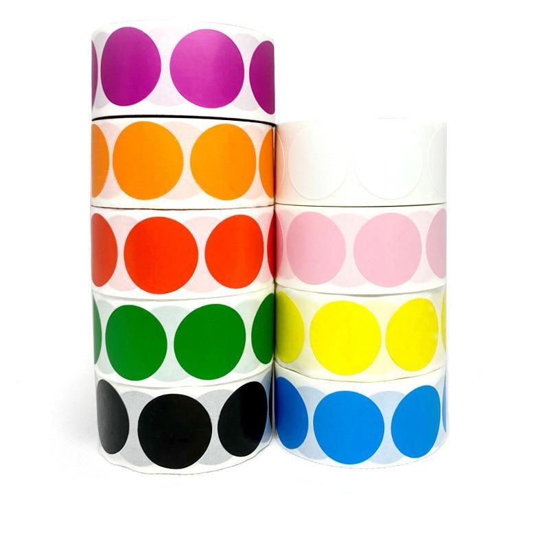 500 шт./рулон ChromaLabel 1 дюйм круговой постоянного Цвет-код точечные Стикеры s желтый и зеленый цвета цвета: черный, красный, розовый стикер для ка...