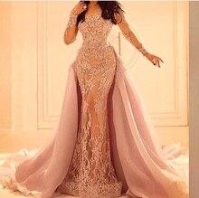 Vestidos De Festa Pink Mermaid Evening Dress Saudi Arabia Prom Party Dresses Long Sleeves Formal Gowns With Detachable Train d15 royal blue lace hi lo lace prom dresses with long sleeves saudi arabia design party dress vestidos de festa