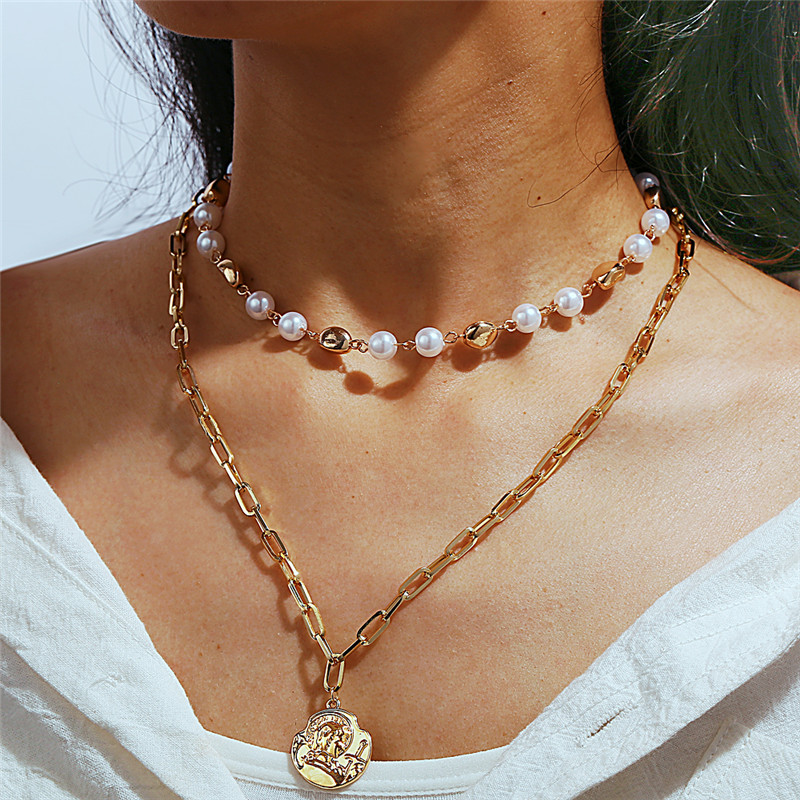 17KM Choker Necklace Coin-Pendant Gold-Chains New Jewelry Statement Multi-Layer Simulated Pearl