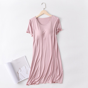 Image 3 - SIDDONS קיץ כותנות לילה כותנה O צוואר נשים Sleepdress עם כרית שד Nightwear שינה טרקלין כותונת בית שמלה בתוספת גודל