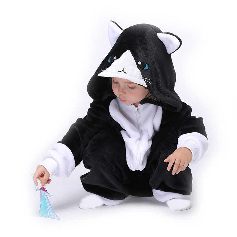 Animal Kids Kigurumis Onesie Pajamas Suit Black Cat Sleepwear Cartoon Flannel Winter Girl Boy Party Homewear Onepiece Child