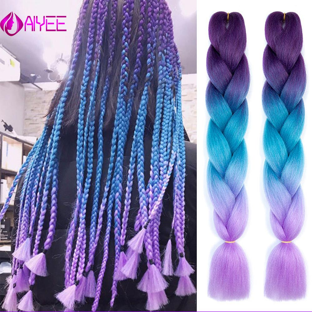AIYEE 24'' 100g Jumbo Braiding Hair Synthetic Hair, African Crochet Hair, Rainbow Strands Ombre False Crochet  Braiding Hair