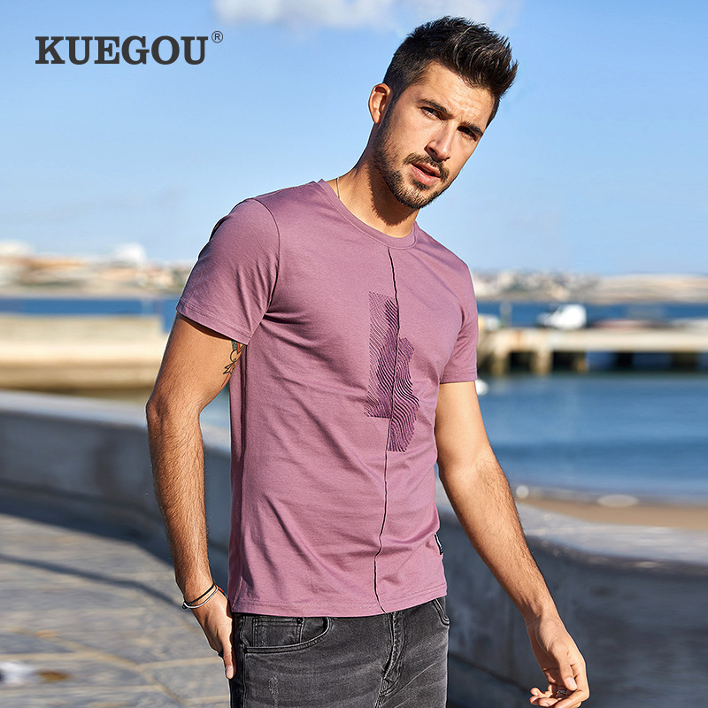 KUEGOU Brand Men's  T-shirt Summer Tshirts Men Embroidery  Fashion Elastic Cotton Short Sleeve T Shirt Men Top Plus Size LT-1776