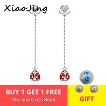 Hot sale 925 Sterling Silver Daisy Flower Red Enamel Ladybug Long Tassel Animal Stud Earrings for Women Fine Jewelry Gift 2019