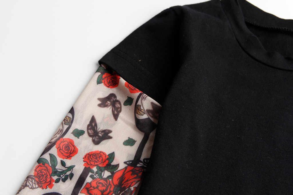 Thời Trang Dài Tay Trẻ Em Áo Thun Tập Đi Cho Bé Bé Trai Mới Lạ Áo Thun Lưới Hình Xăm In Hình Tay Hoa TEE Áo Camiseta