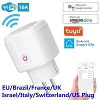 WiFi Smart Plug 16A ue brazylia gniazdo bezprzewodowa zdalna kontrola mocy głosu miernik zużycia energii Outlet Timer działa dla Alexa Google Home