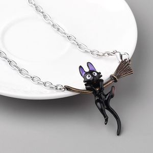 Image 3 - 도매 10 개/몫 미야자키 하야오 키키의 배달 서비스 검은 고양이 펜던트 목걸이 귀여운 만화 쥬얼리 어린이 친구