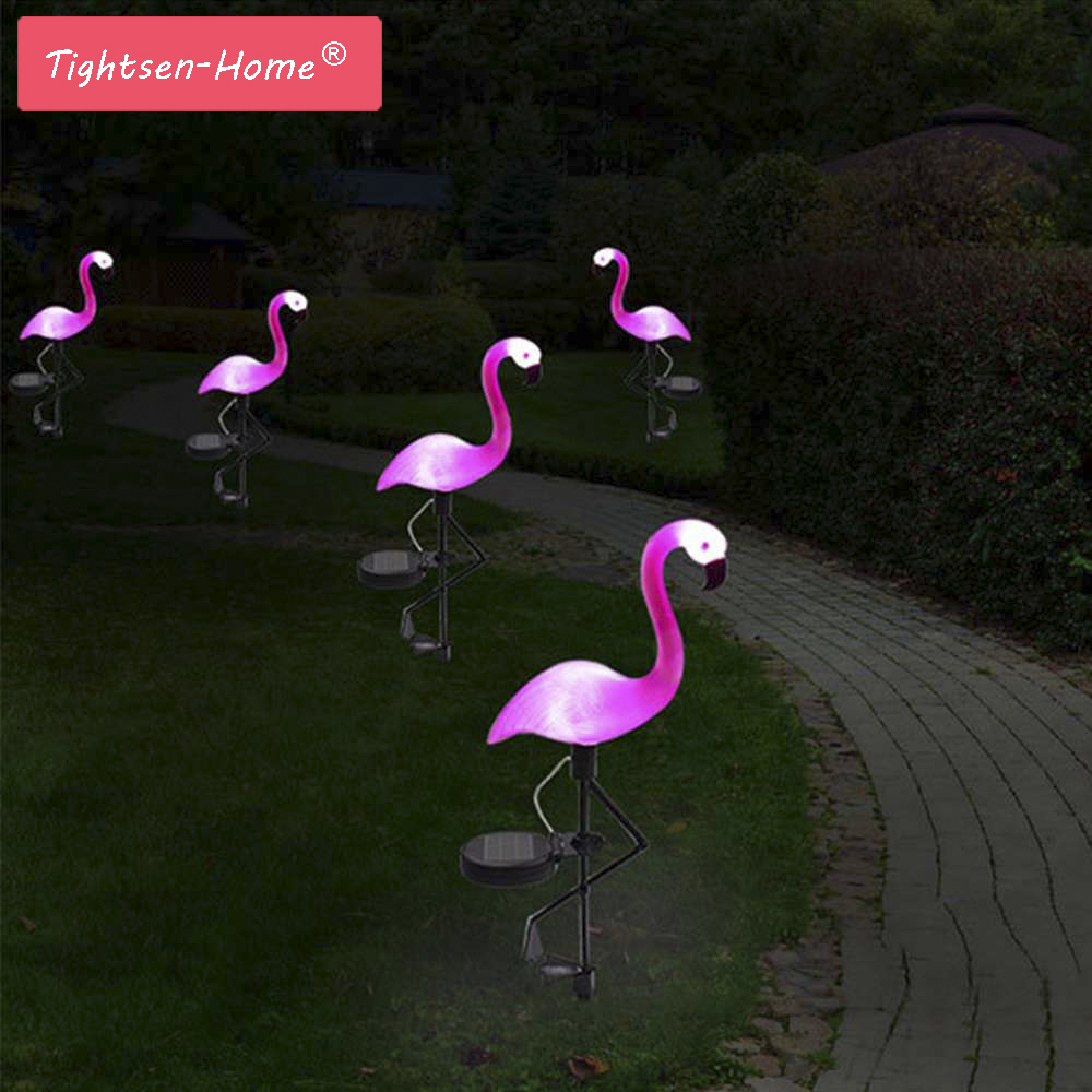 New LED Garden Light Solar Powered Flamingo Lawn Lamp For Outdoor Garden Decorative Waterproof Pink led Solar Garden Lights