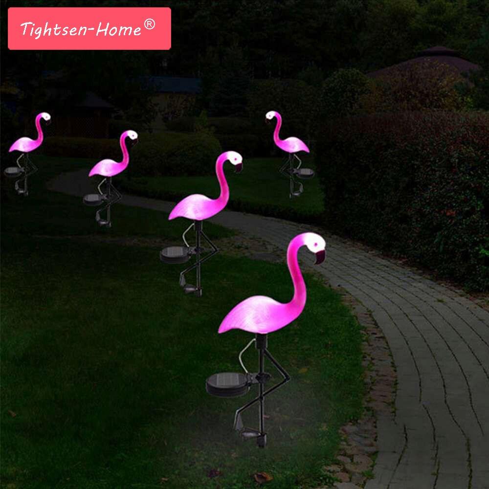 Nueva lámpara LED de jardín con energía Solar de flamencos para jardín al aire libre decorativa impermeable Rosa led Solar luces de jardín