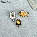 С котами и рыбами эмаль на булавке на заказ Забавный животный растительный мешочек для брошек одежда штырь отворотом милый котенок значок, ...