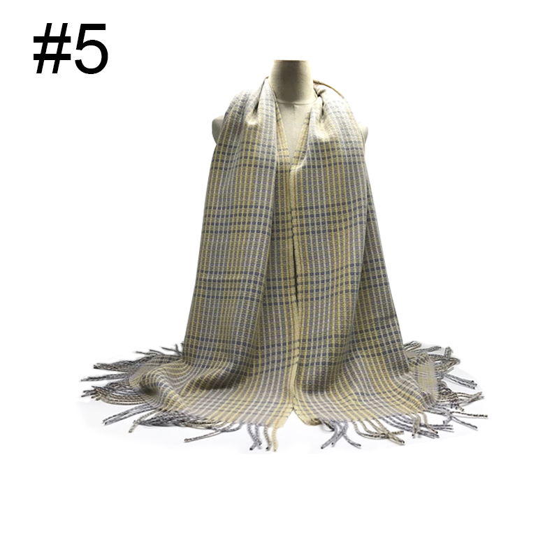 1PCS  New winter plaid viscose tassel scarfs high quality muslim women hijab lady's fashion wrap shawl scarves 7pcs/lot